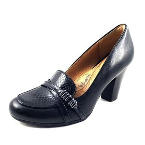 SOFFT BLACK LEATHER SLIP HIGH HEEL LOAFERS SZ 8.5